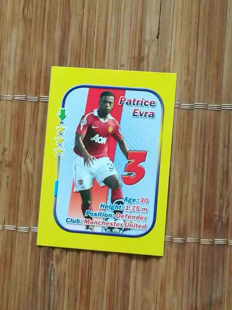 Rare Stars 3x1 Aquarius Small Size Card Patrice Evra Manchester United West Ham France Manchester United Patrice Cards