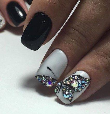 nails acrylic black bling 33 ideas nails  nail in 2019