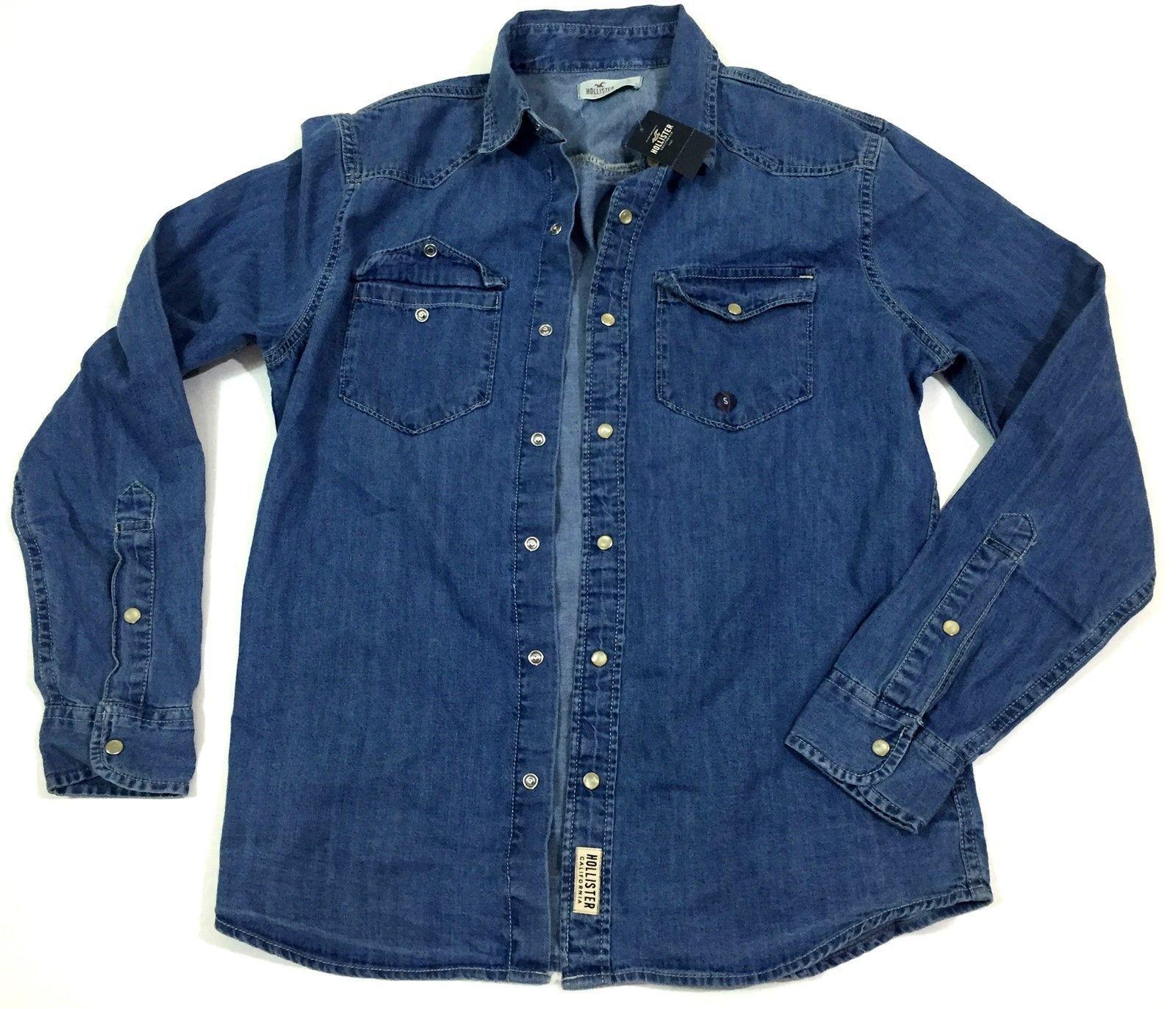 NWT HOLLISTER Long Sleeve Button Down Denim Jean Shirt Size Small $49.95 https://t.co/XGZ1b9Oo6q https://t.co/IGL4KkIQB3