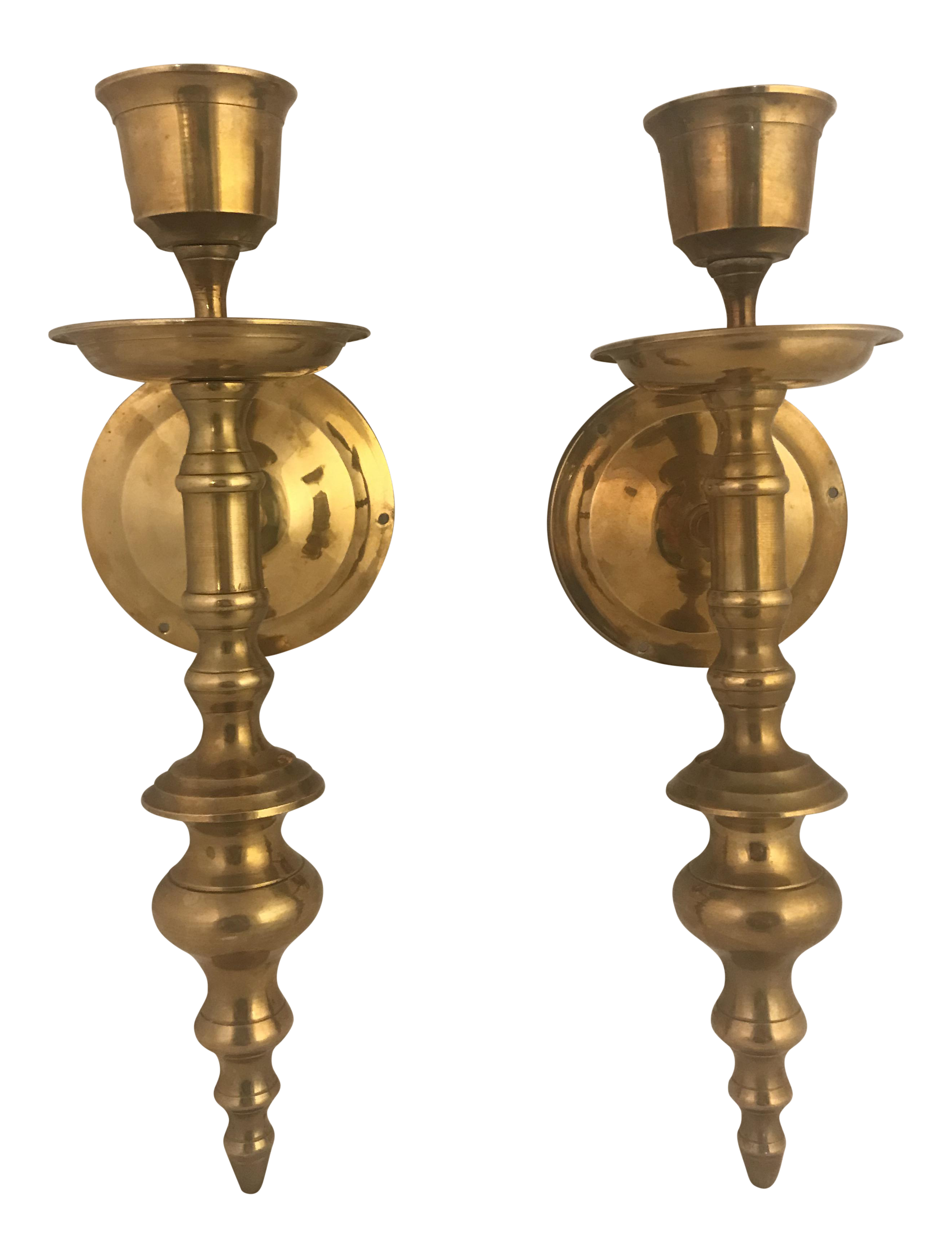 Vintage Brass Wall Mounted Sconce Candle Holders - A Pair ... on Vintage Wall Sconce Candle Holder Decorating Ideas id=51035