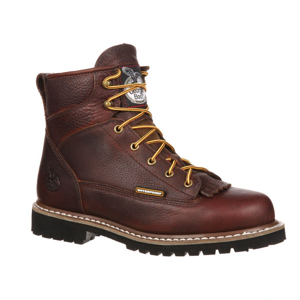 a8b45b81e89 6'' Waterproof Low Heel Logger Boots - Chocolate / Men's 9W ...