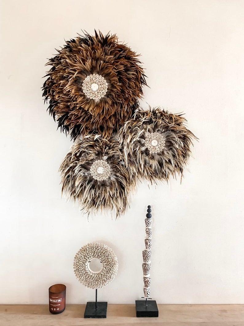Natural feathers juju hat - shell juju hat shells - brown ...