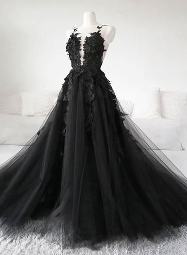 Unique Black Tulle V-Ausschnitt Sheer Back Lace Applique Abendkleid, Formal Dress D-021 - New Ideas #spitzeapplique
