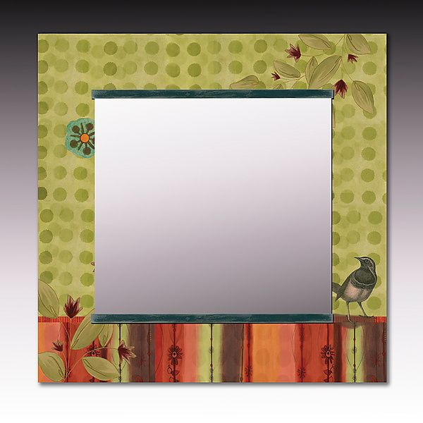 Lymon Bird Square Mirror by Janna Ugone and Justin Thomas: Mixed-Media Mirror…