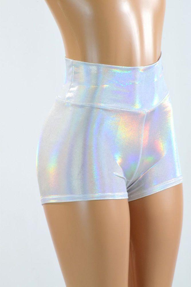 Flashbulb Holographic Silvery White High Waist Spandex Shorts Rave Festival  #CoquetryClothing #MiniShortShorts