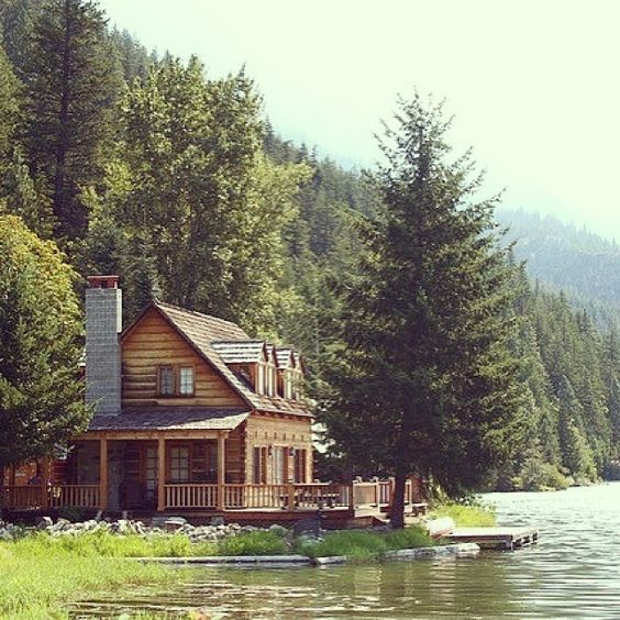 thedame: Dream home! #lakehouse #cabin #forest #riverhouse