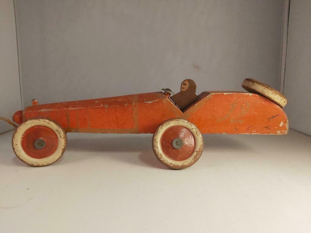 ≥ Grote Houten Racer 38cm 1920s Antiek   Speelgoed