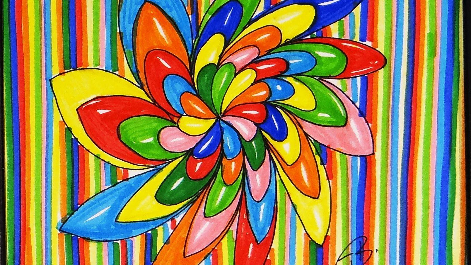 Easy marker art circus colors marker art art art lessons