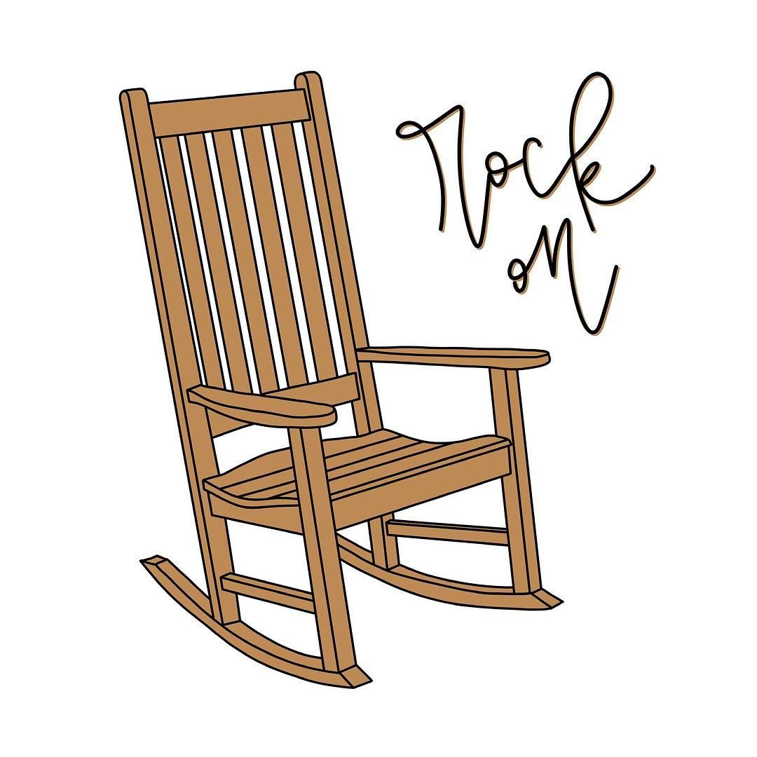 Rock On Rocking Chair Pun Front Porch Joke Funny Hand Lettering Puns Visual Puns Chair