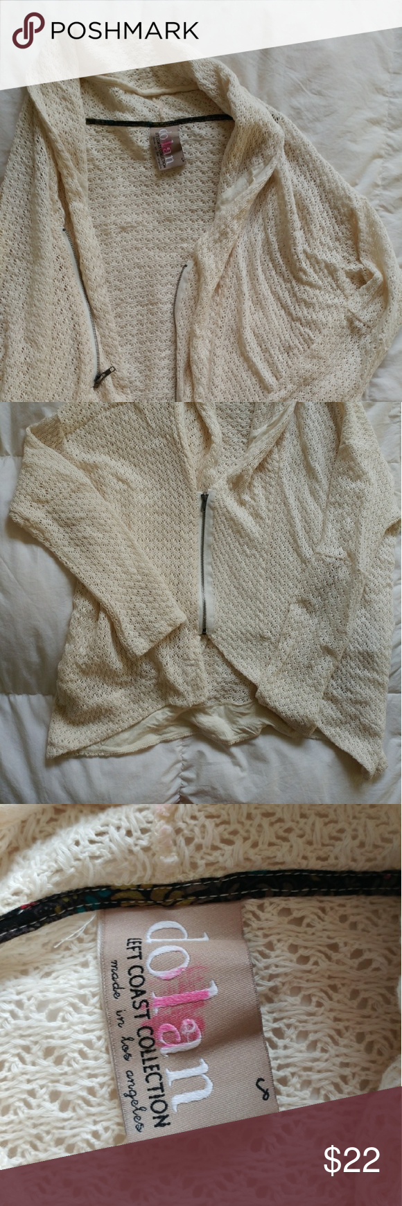 Dolan Cream Lacy Sweater Lacy cream sweater by Dolan (LA Left Coast Collection). Has pockets (!) and a zipper, but I often wear it unzipped. Size small, fits loosely in the body. Red mark on tag. Dolan Sweaters
