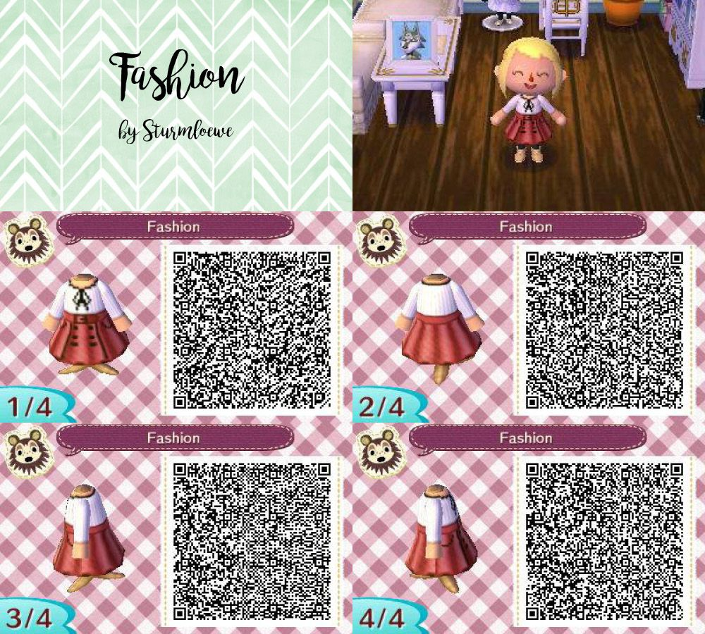 Leather jacket qr code new leaf - Animal Crossing New Leaf Qr Code Cute Modern Red White Dress With Bow Outfit Fashion Mode
