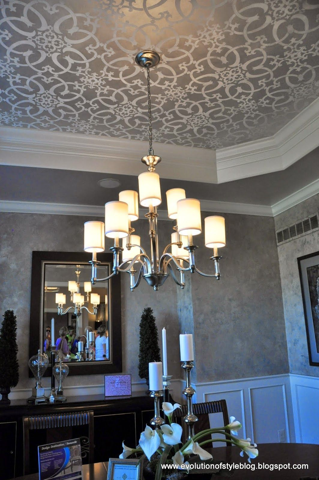 Stenciled Tray Ceiling | Shabby chic bedrooms | Pinterest