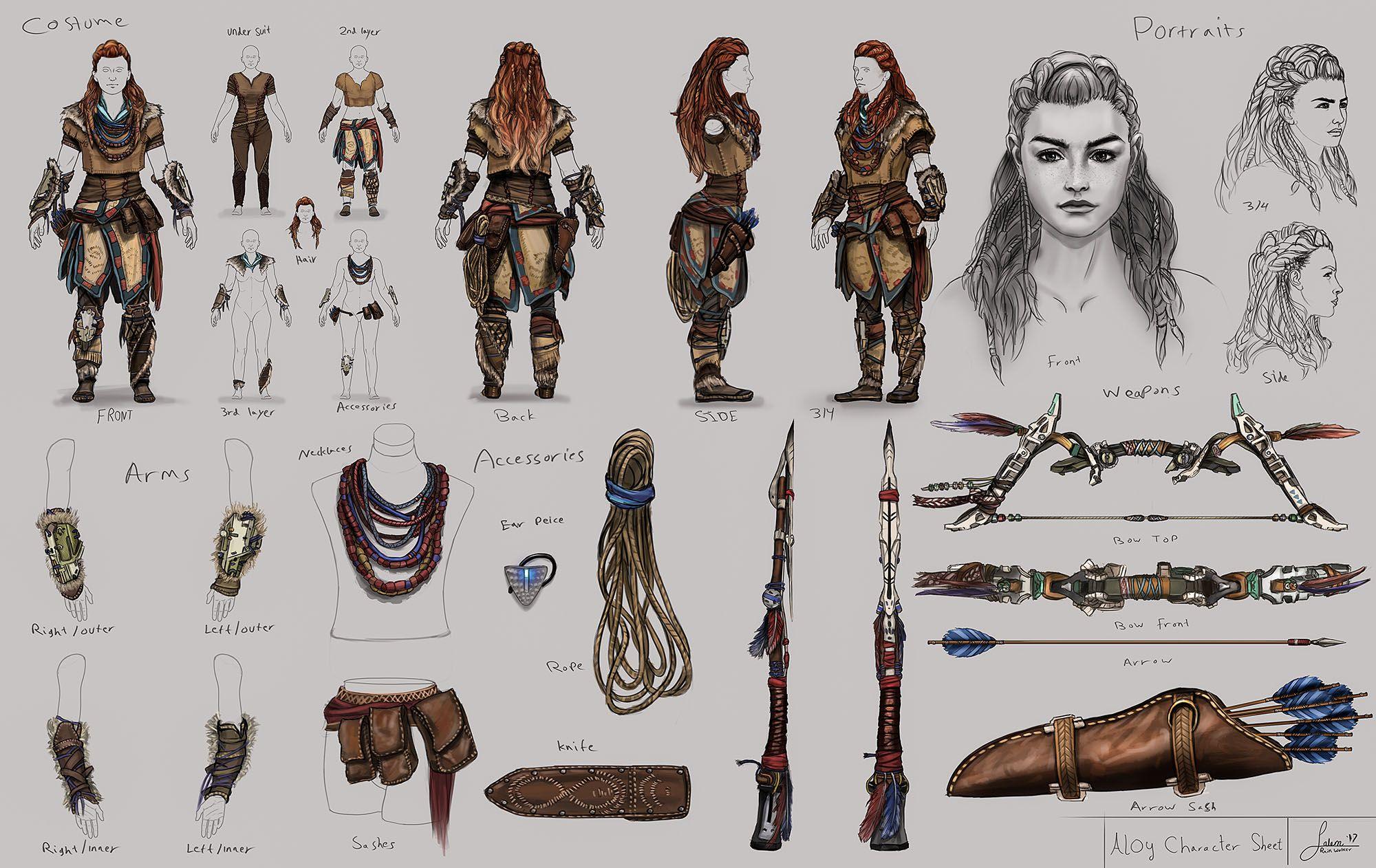 Aloy S Costume Study Character Sheet Digital Study Horizon