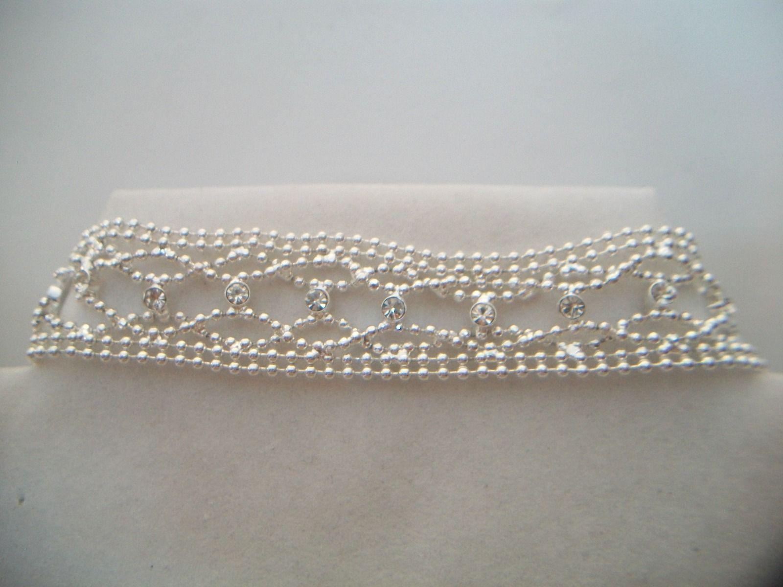 silver tone rhinestone beaded bracelet