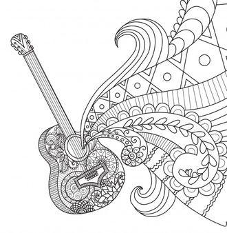 Resultado De Imagen Para Dibujos Chicos Tocando La Guitarra Dibujos Musicales Mandalas Mandalas Para Colorear