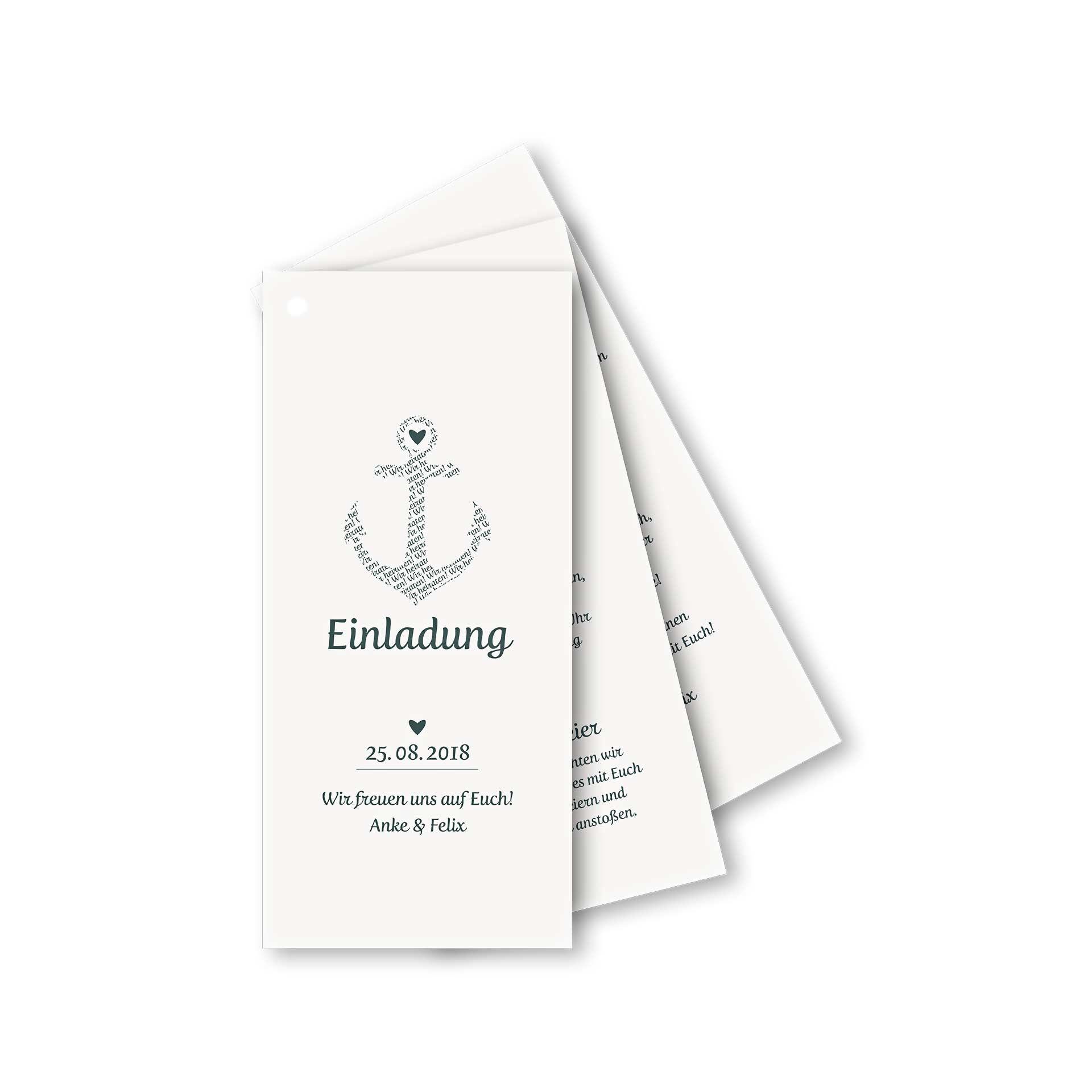 Hochzeitseinladung Hamburg, Maritime Einladungskarte für Hochzeit ...
