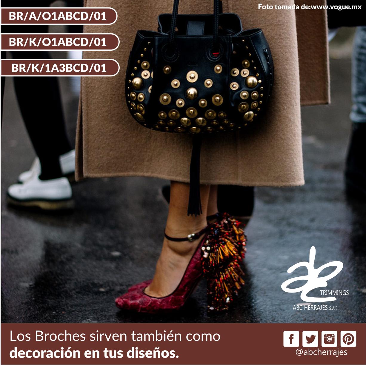 Los #Broches sirven también como #Decoracion en tus #Diseños. #ABCHerrajes #Estilo #Moda #Vanguardia #Marroquineria #Bolsos #Carteras Visítanos en: www.abcherrajes.com