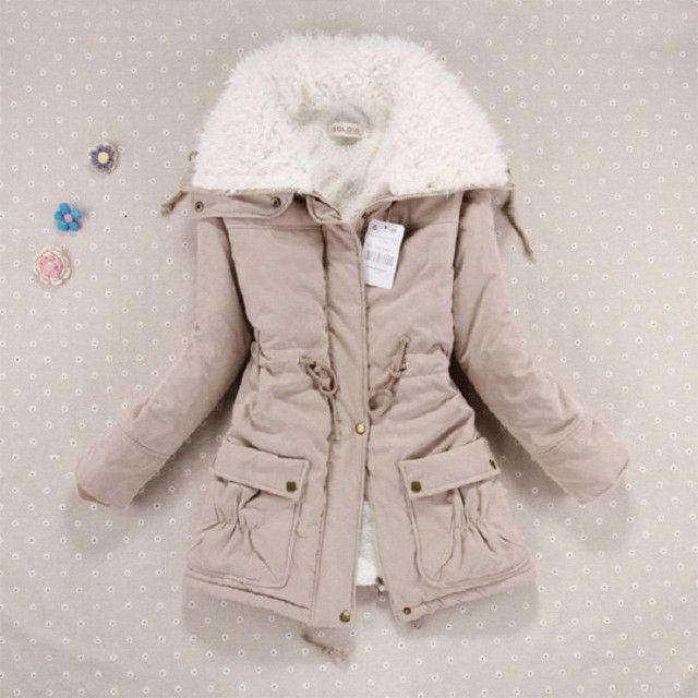 Winter Jacket Women Fashion Slim Cotton Coat Women's Thickness Overcoat Medium-long Plus Size Casual Wadded Snow Outwear