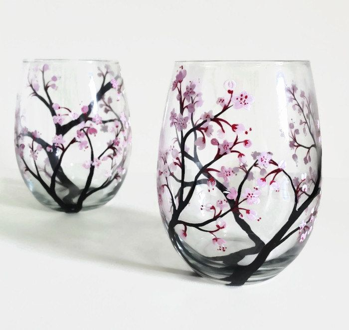 Cherry Blossoms Hand Painted Wine Glass Pink White Spring Flowering  Branches Swirled Petals Unique Art Gift