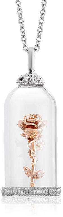 Zales Enchanted Disney Belle Diamond Accent Rose In Glass