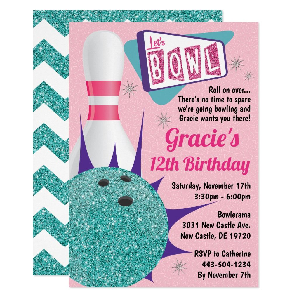 Bowling Party Retro Pink Teal Tenpin Invitation Bowling Party Bowling Invitations Bowling