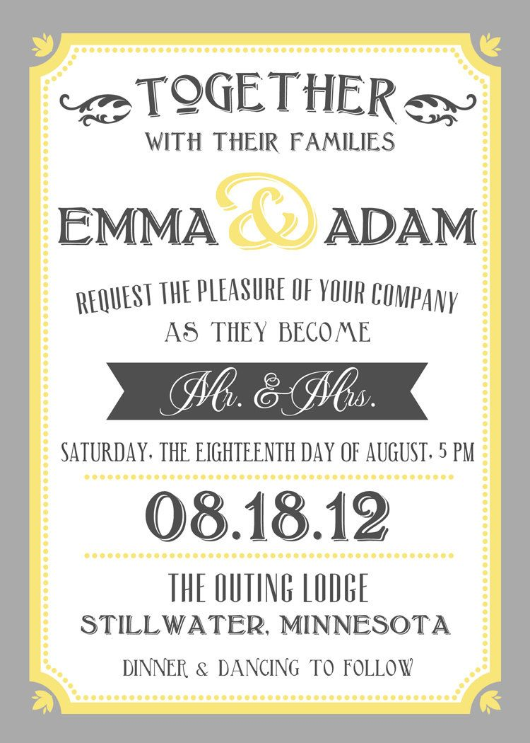 Printable Wedding Invite And RSVP Invitation Set   Yellow And Grey Vintage  Typographic Poster Style