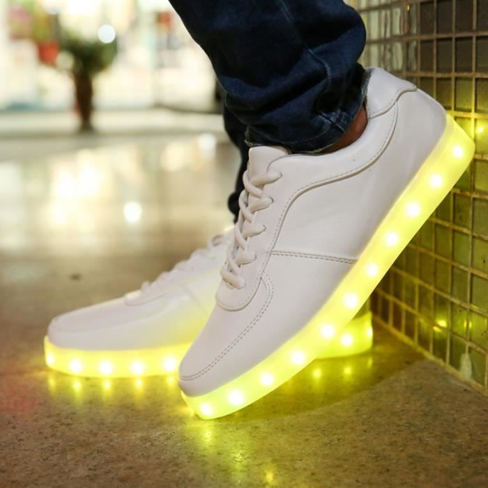 4a2fc068796 E-Thinker® 7 Couleur Homme Usb Charge Led Chaussure Lumineuse Lumineux  Clignotants Chaussures De