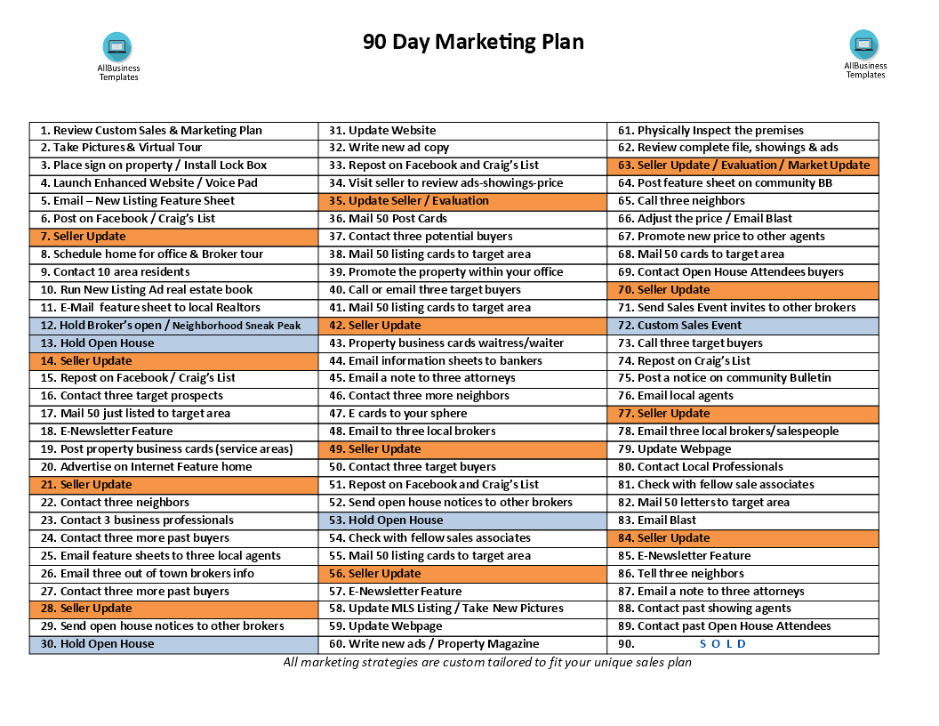 How to create a 90 Day Real Estate Marketing Plan