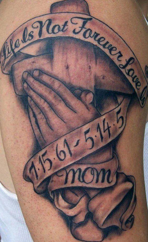 ef2a9ba2abb41 50 Coolest Memorial Tattoos | Tattoos | Praying hands tattoo ...
