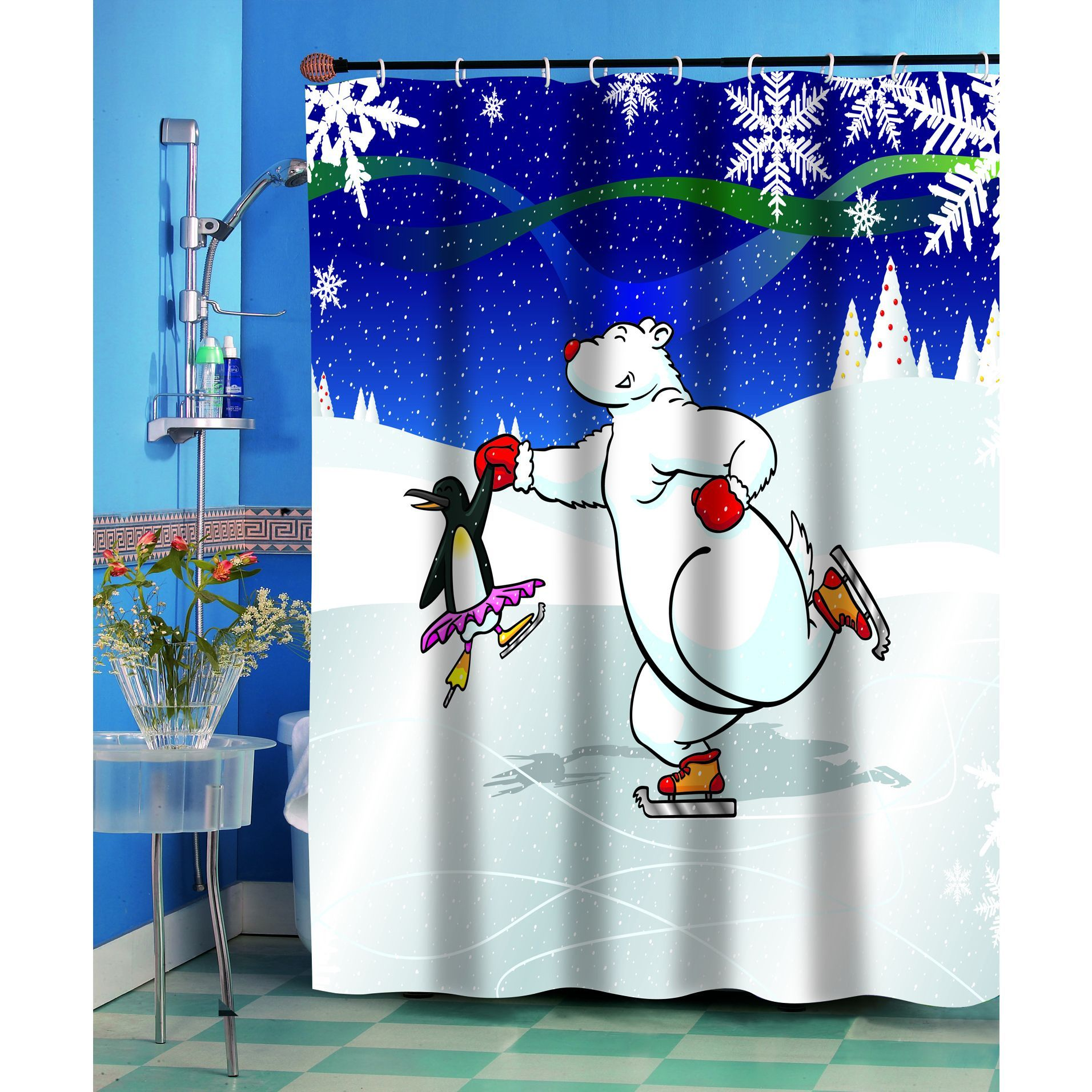 Ice Dancers Christmas Themed Holiday Fabric Shower Curtain Ice