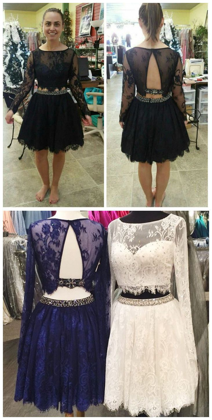 piece homecoming dressesblack beading homecoming gownsshort prom
