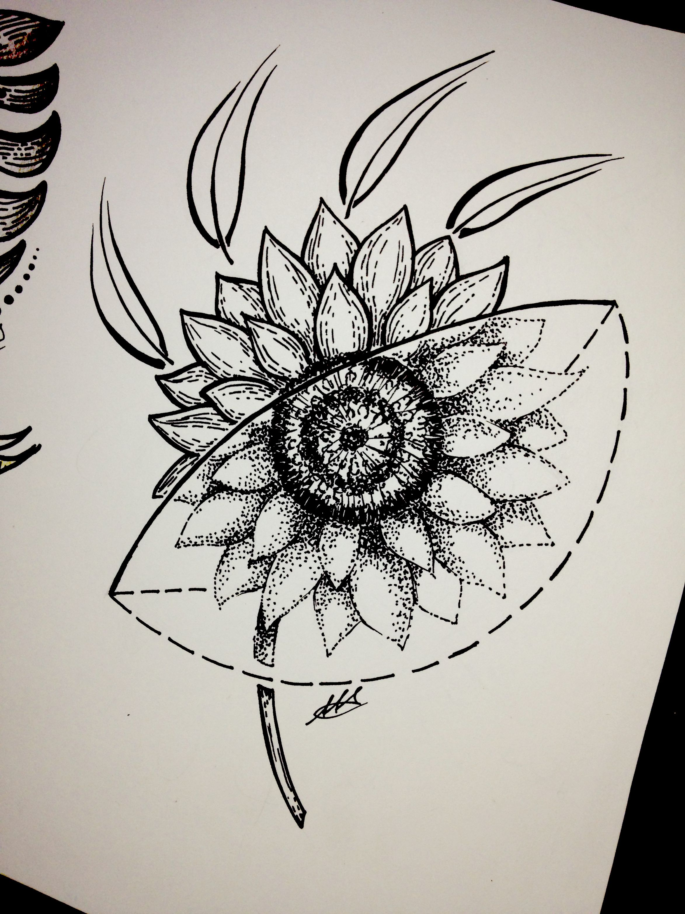 #sunflower #sketch #tattoo #geometric #flowers # ...