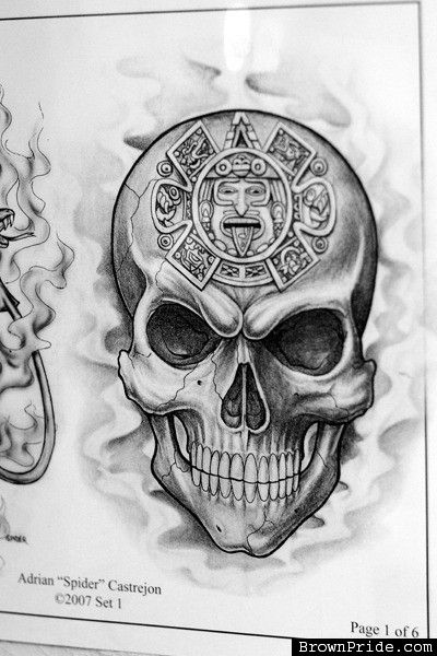 dc188580eef88 Aztec Skull Tattoo Design   TATOOS   Skull, Skull tattoo design, Tattoos