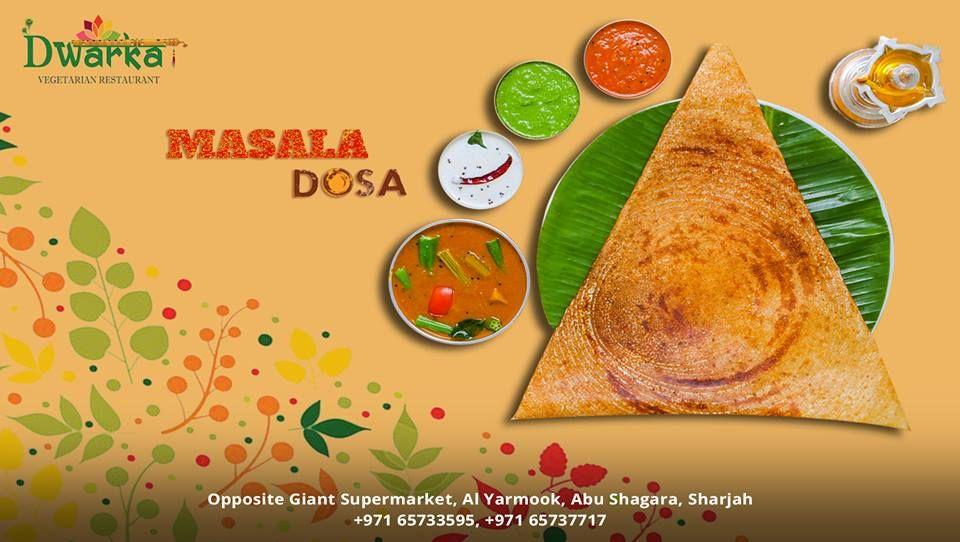 Dwarka Vegetarian Restaurant Masala Dosa Sheikh Saqr Bin Khalid Al Qasimi Street Al Budaniq Sharjah United Ar Indian Breakfast Vegetarian Restaurant Dosa