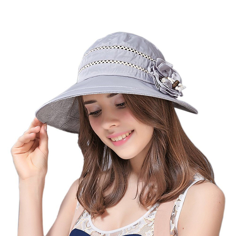 f9b9dc43d Lerela Womens Summer Sun Protective Sun Hat Bowknot Beach Visors UPF ...