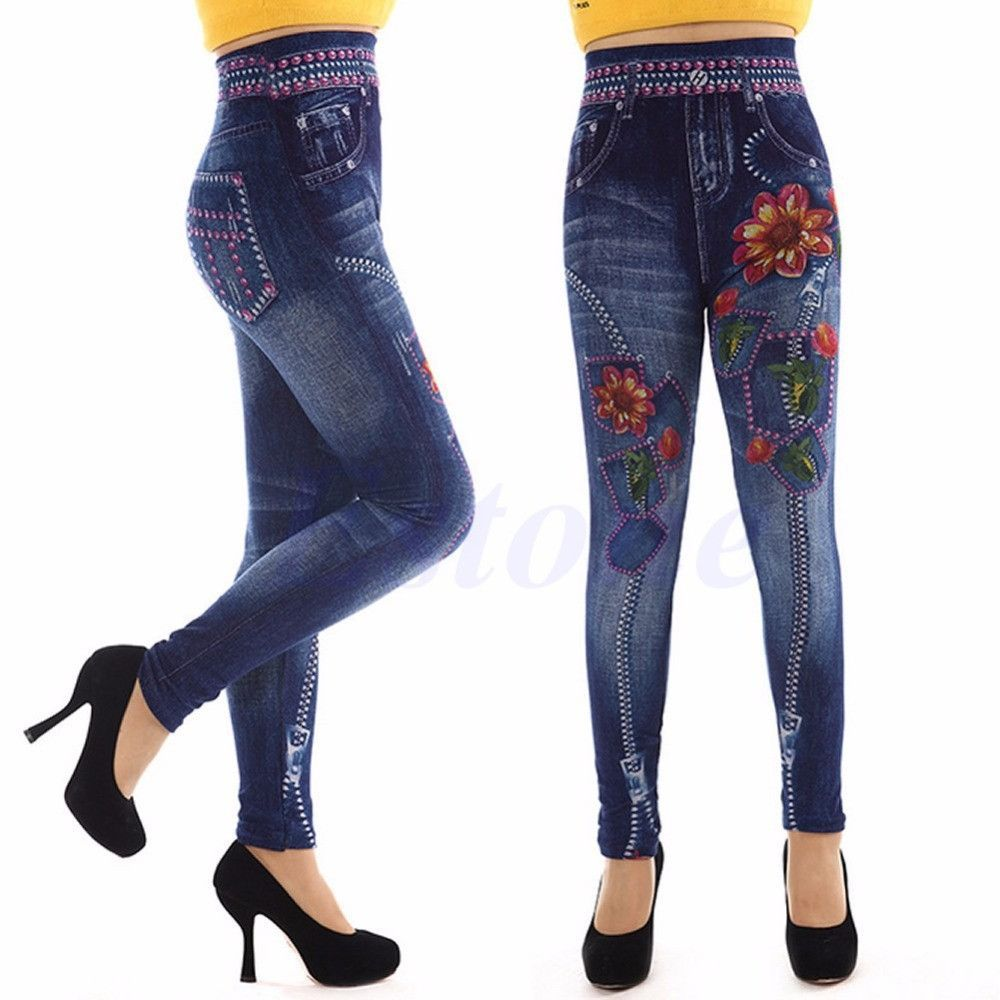 NEW Women Denim Look Jeans Sexy Skinny Leggings Jeggings Stretch Pants Trousers