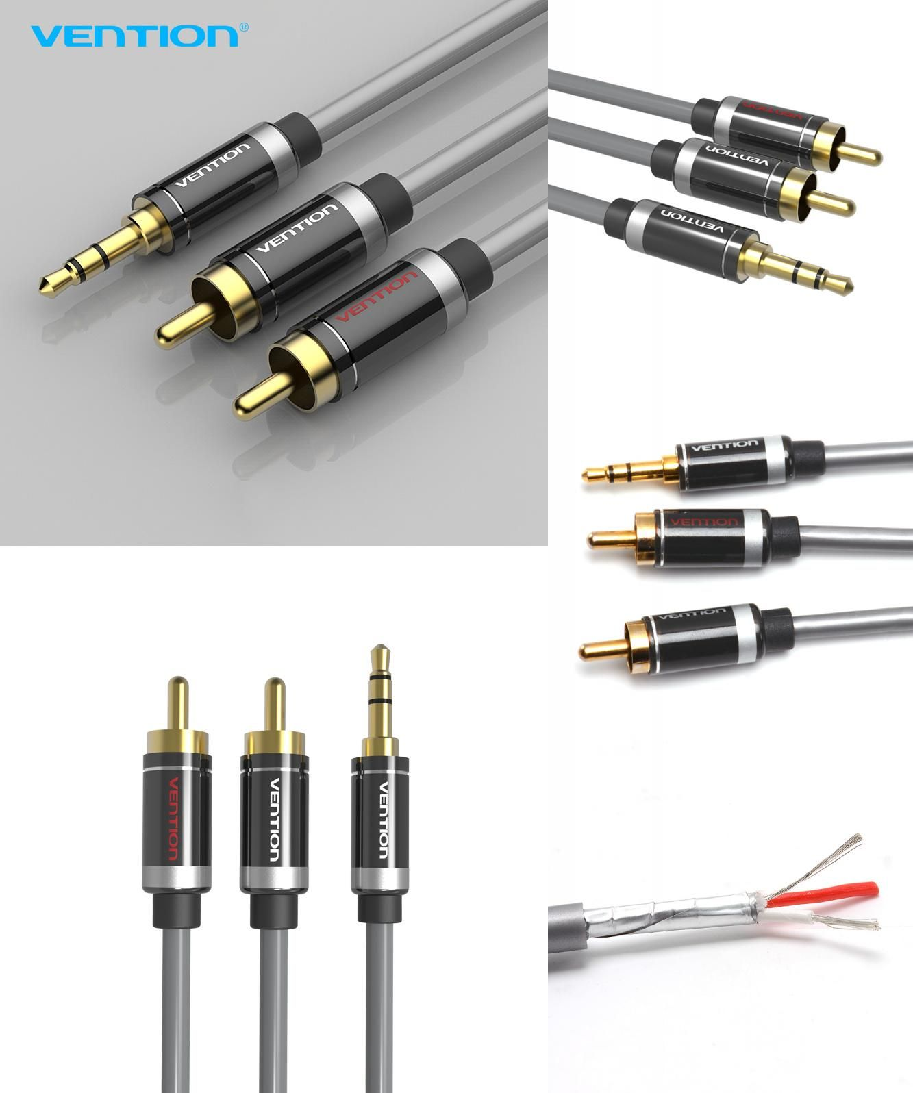 8p x Gold Silver Plated RCA Connector Plug Audio Cable