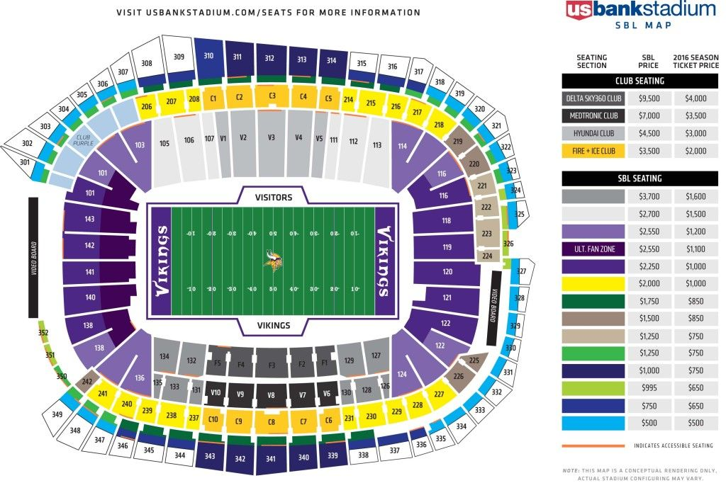 Usbs Sbl Season Ticket Map Minnesota Vikings Minnesota Vikings Tickets Dallas Cowboys Tickets