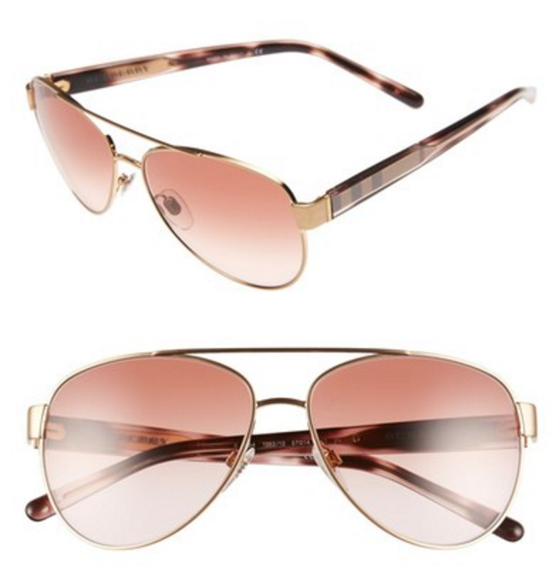 2f90258363af Who doesn t love rose gold accessories  The check-patterned temples add  just the right amount of sophistication to these chic Burberry aviator  sunglasses.