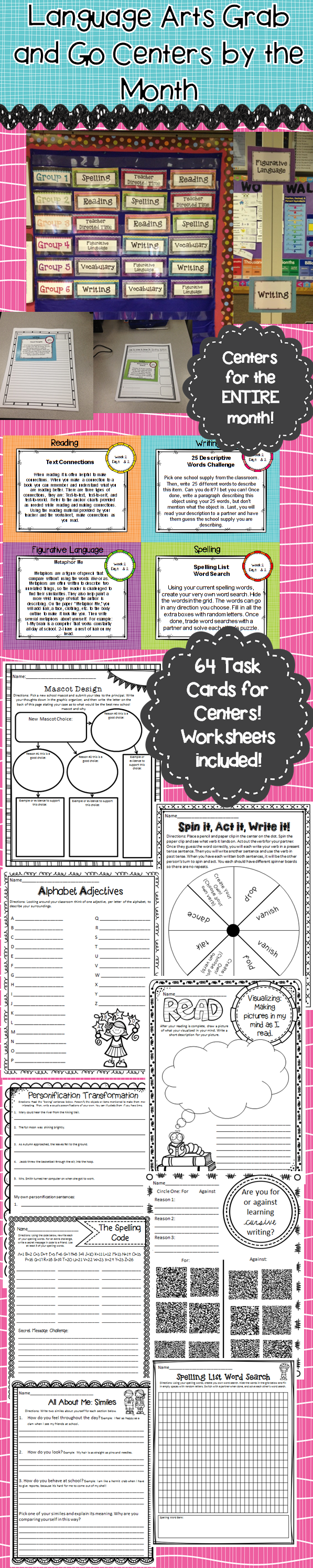 worksheet 4th Grade English Language Arts Worksheets literacy centers 3rd 4th 5th 6th grade back to school language arts for the whole month 3 6 grades september