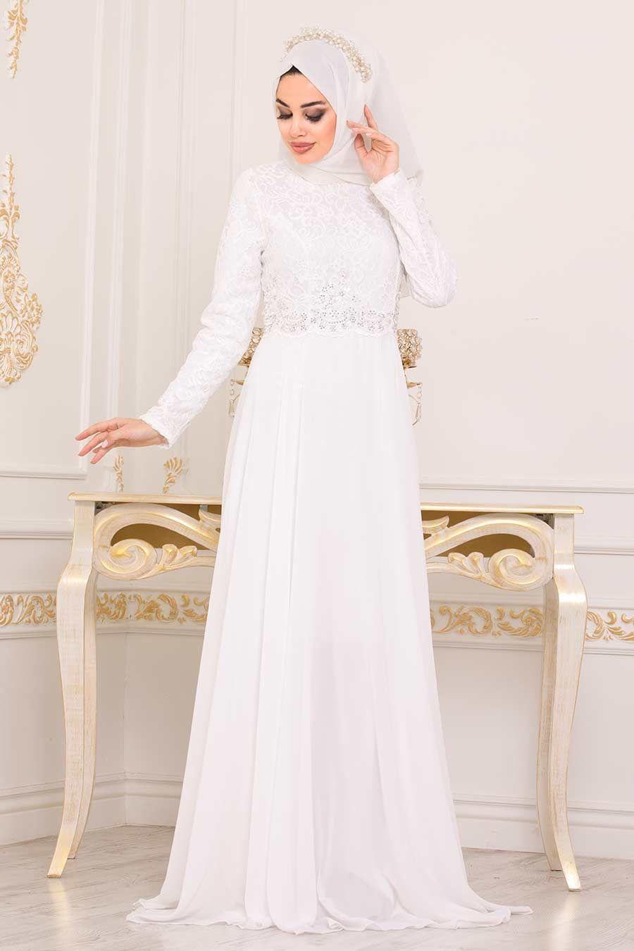 Neva Style Dantelli Beyaz Tesettur Abiye Elbise 9116b Tesetturisland Com The Dress Aksamustu Giysileri Elbise