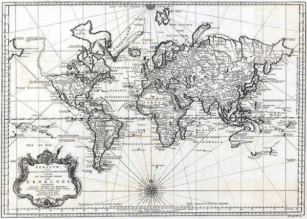 1748 antique world map versuch von