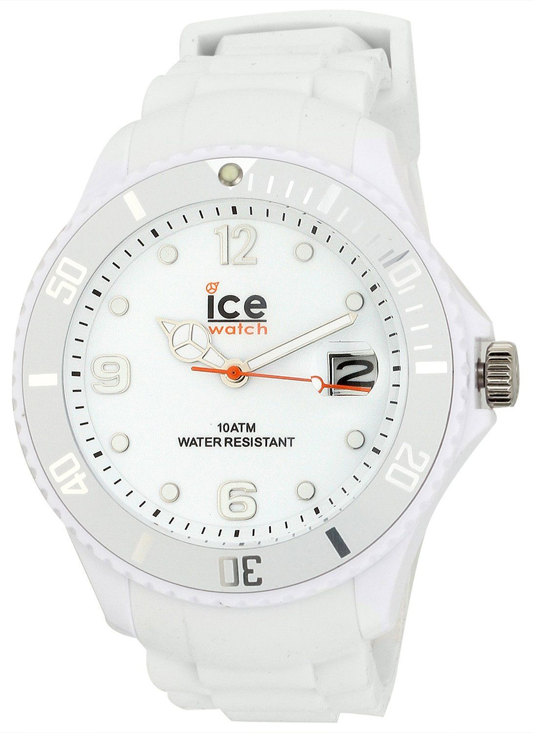 Ice Watch Men's SIWEBBS11 Sili Forever Collection White Watch. White silicone band. Luminous hands. Date display. Stainless steel caseback. Water resistant to 165 feet (50 M): suitable for swimming and showering.