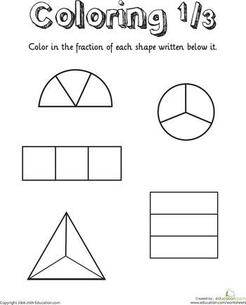 Coloring Shapes The Fraction 1 3 Worksheet Education Com Fractions Math Fractions Fractions Worksheets