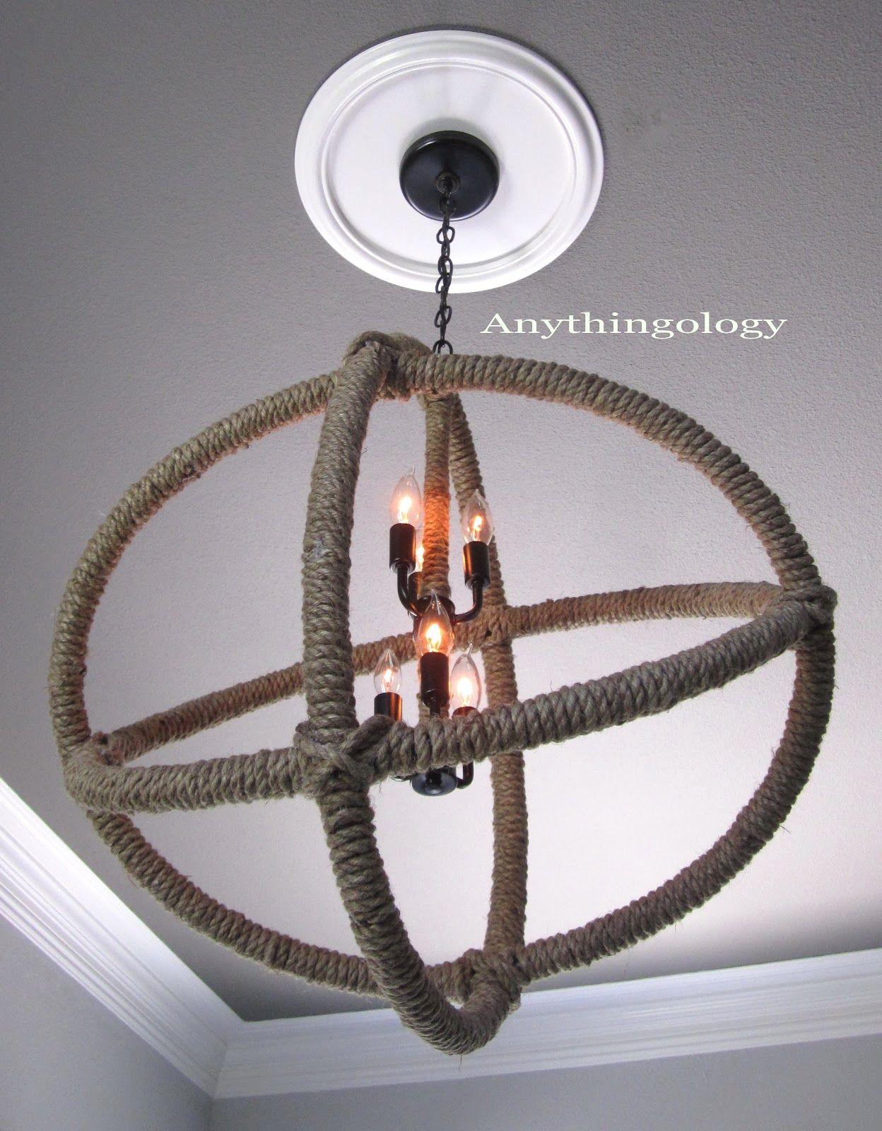 Diy restoration hardware rope planetarium chandelier made with hula