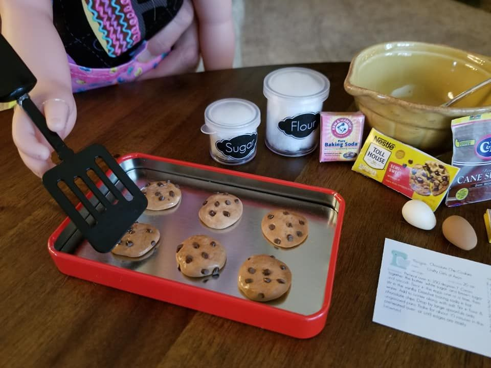 20 Piece Chocolate Chip Cookie Baking Set For 18 Inch Doll Ready