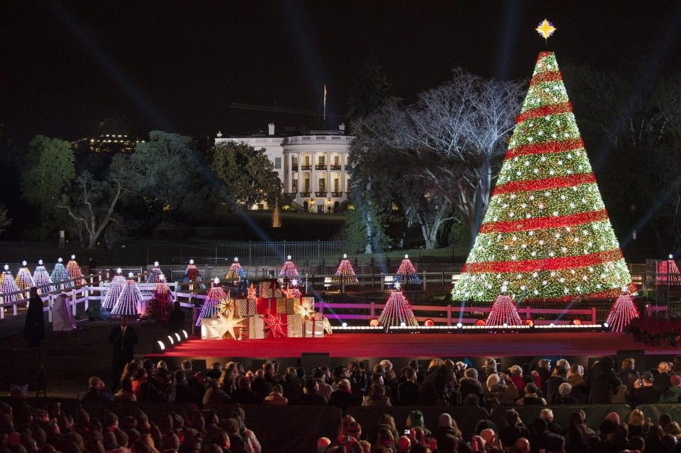 #Washington: #Obama accende l'albero di #Natale - #Christmas #Christmastree #2014