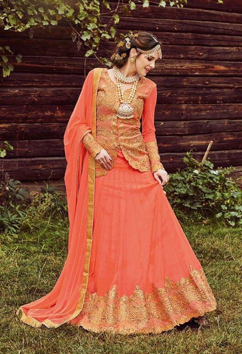 45e8f10324044e Peach latest wedding wear lehenga with long designer choli Blouse ...