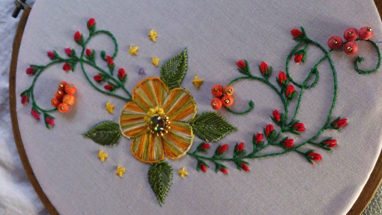 Hand embroidery Designs  Satin stitch flower with Stump work