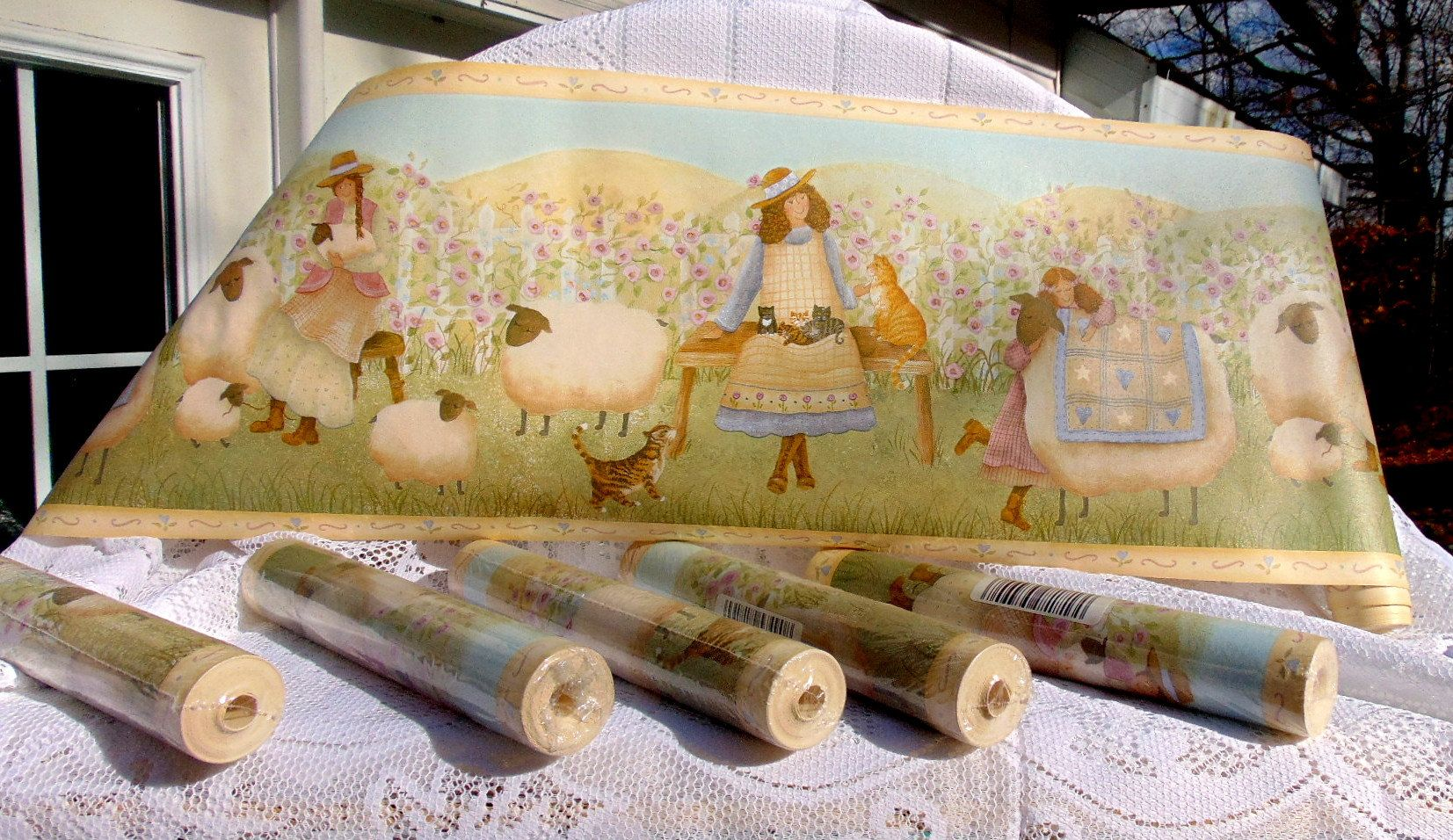 Primitive Sheep Wallpaper, Brewster Wallpaper Boarder